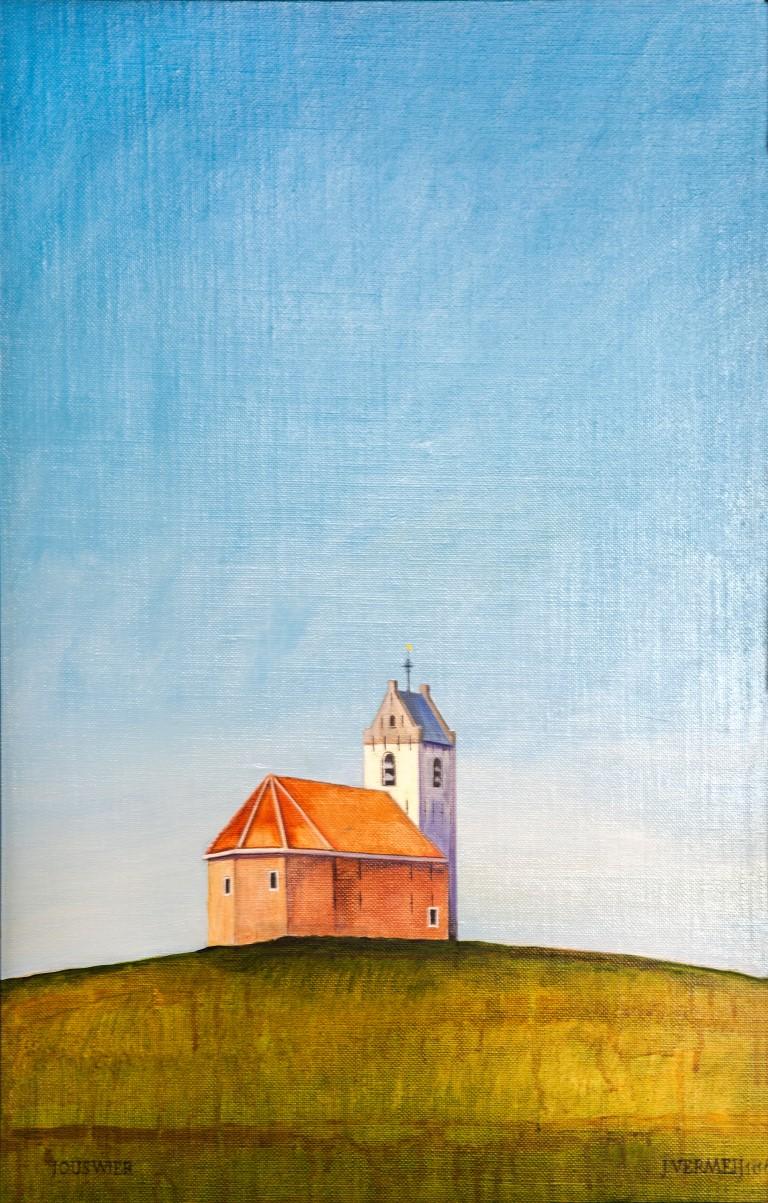 Het terpkerkje van Jouswier (Friesland), 60x39cm