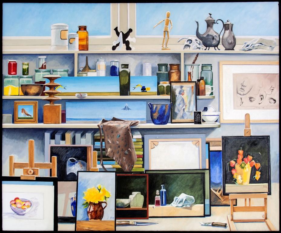 Een schilderij van het atelier van Joop Vermeij, groot 100x120cm