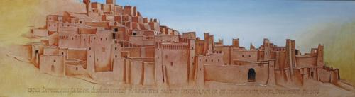 Schilderij van een verlaten stad in Marokko uit 2008