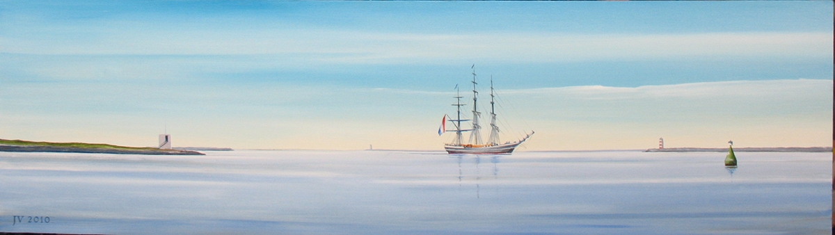 Schilderij van een schip tussen de pieren uit 2010