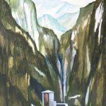 Schilderij van het dal Infernaccio, Italie uit 2012