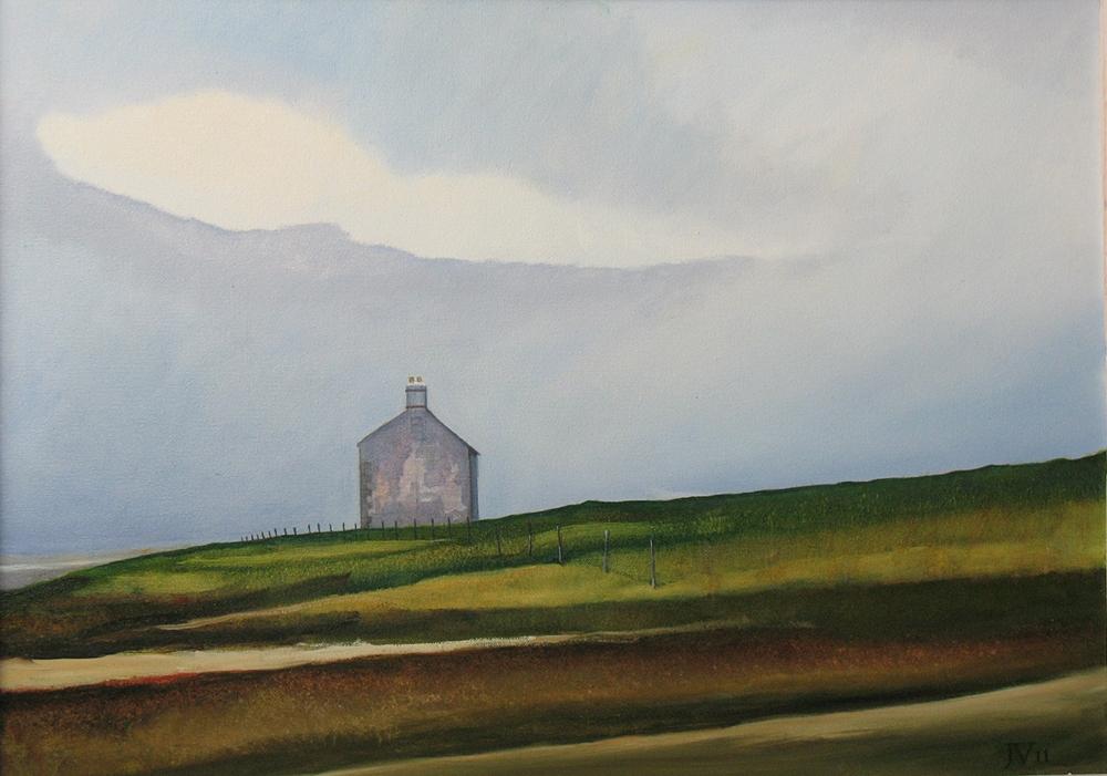 Schilderij met vergezicht op landschap in Noord Engeland uit 2011