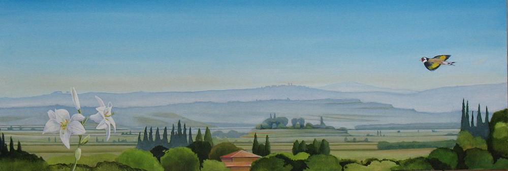 Schilderij met een blik op Toscane uit 2011