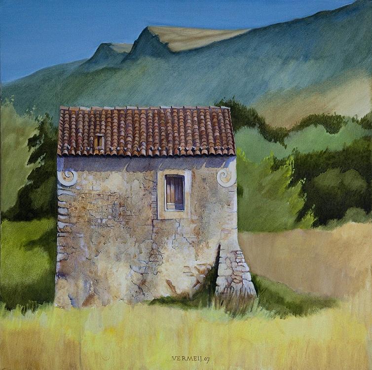 Schilderij van een schuur in Zuid-Italie uit 2007
