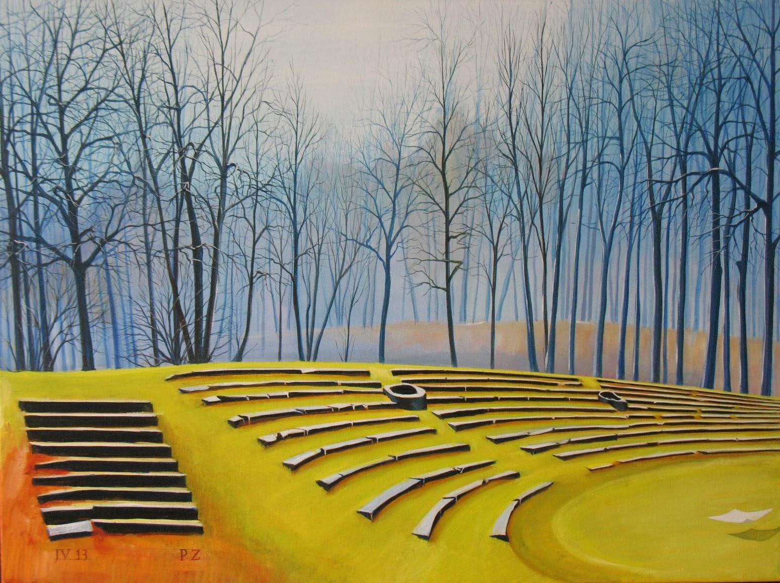 Schilderij (olieverf) van het Theater PZ