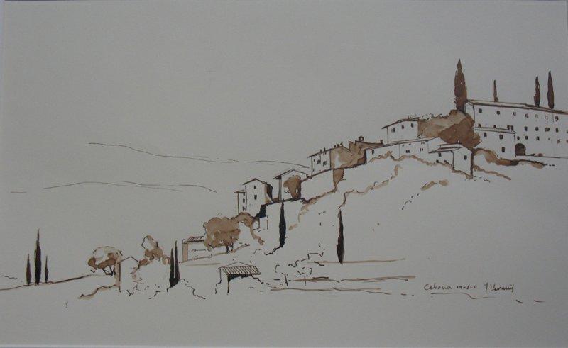Tekening met Blik op Cetona (Italië) gemaakt in 2011