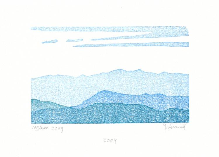 Houtsnede van Heuvels van Toscane gemaakt in 2009